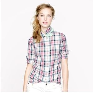 J.Crew Women Boy Shirt in Mint Strawberry Plaid